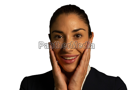 young smiling businesswoman looking to camera