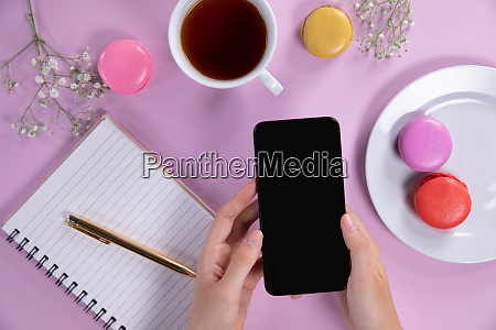 woman using her smartphone during the