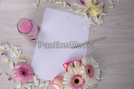 new sheet surrounded by watercolor flower
