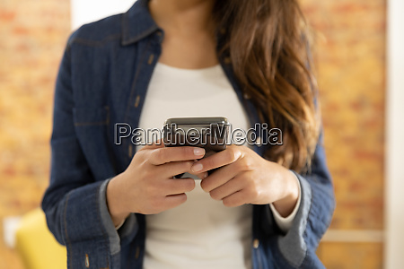 young woman at home using a