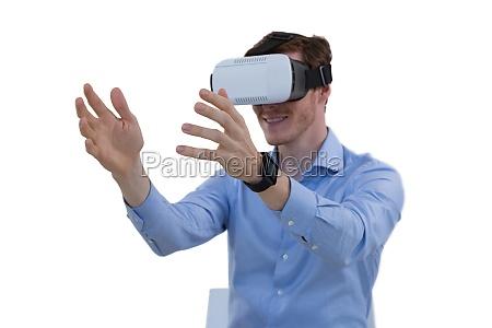 male executive using virtual reality headset