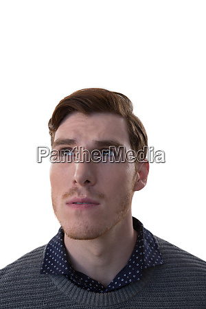 male executive standing against white background
