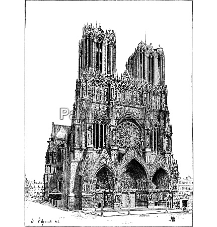cathedral of reims france vintage engraving