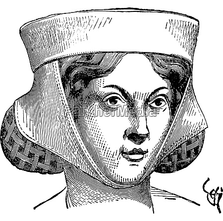 woman hairstyle vintage engraving