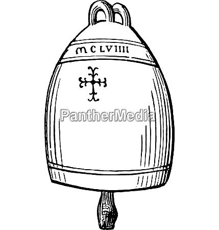 bell siena twelfth century vintage engraving
