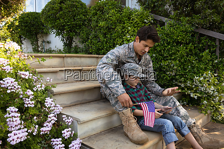 soldier with son