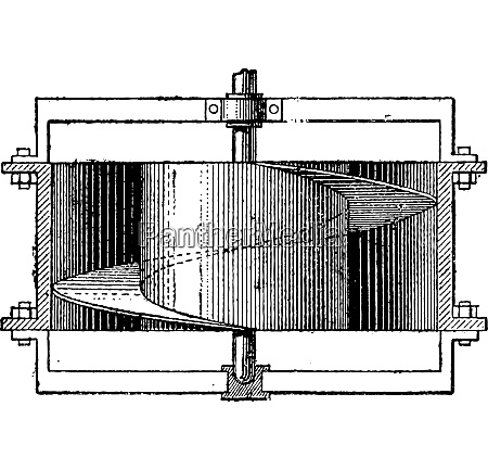 helicoidal fan vintage engraving