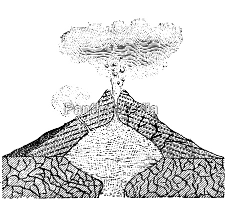 volcano vintage engraving