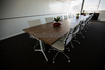 conference table in empty meeting room