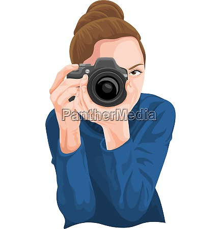 vector of woman photographing with camera