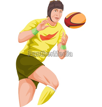 vector of player catching football