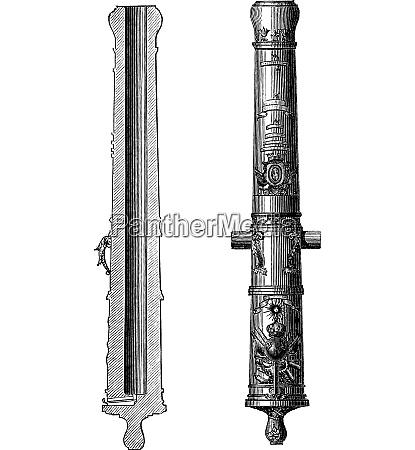 canon 24 artillery vintage engraving