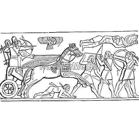 assyrian king in battle vintage engraving