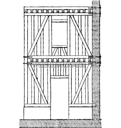timbered vintage engraving