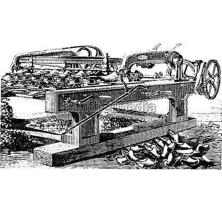 shaping machine hooves vintage engraving