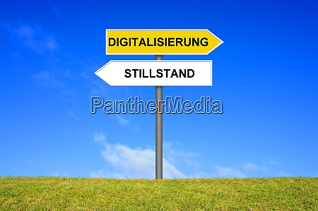 signpost showing digitization and standstill german