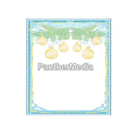 christmas framework style card gold baubles