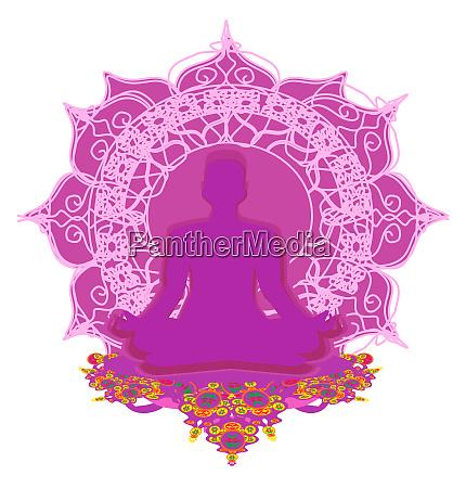 man silhouette meditate yoga card