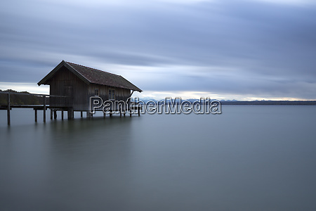 boathouse at lake ammersee in bavaria
