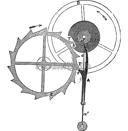 chronometer escapement of earnshaw vintage engraving