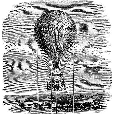 old aerostat or hot air balloon