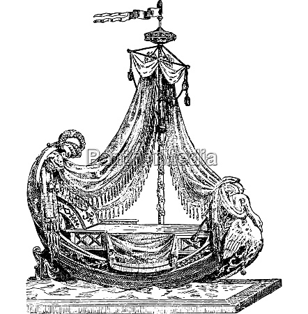 empire style bed vintage engraving
