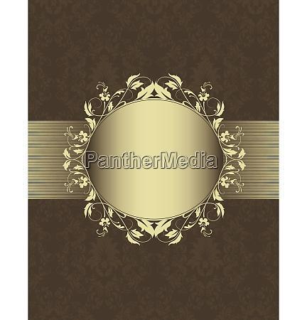 ornate vintage frame on damask background