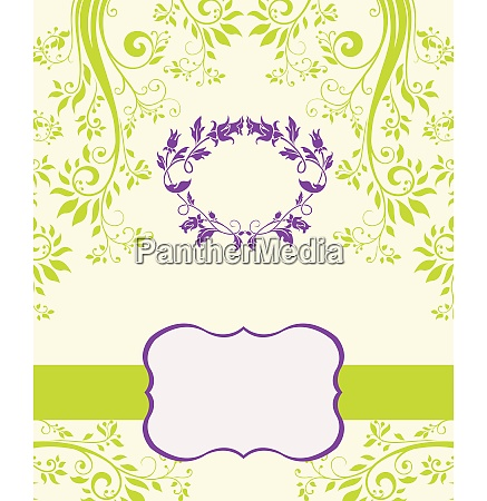 purple and green abstract floral invitation