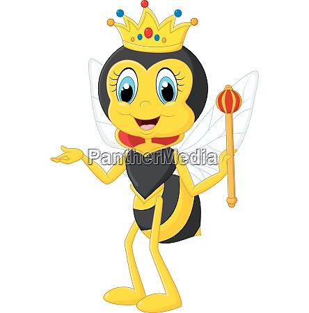 cartoon queen bee presenting