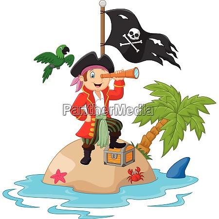 cartoon captain holding binoculars vector illustration