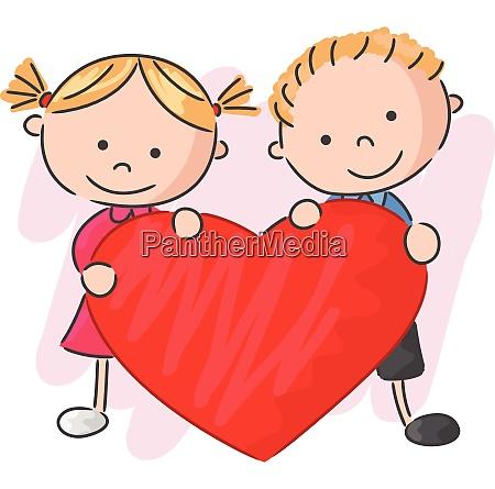 cute children couple love