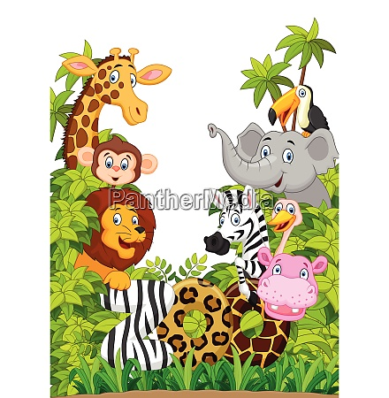 cartoon collection happy animal in the
