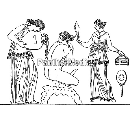 cleanliness care vintage engraving