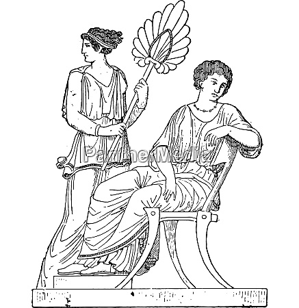 stage gynaeceum vintage engraving