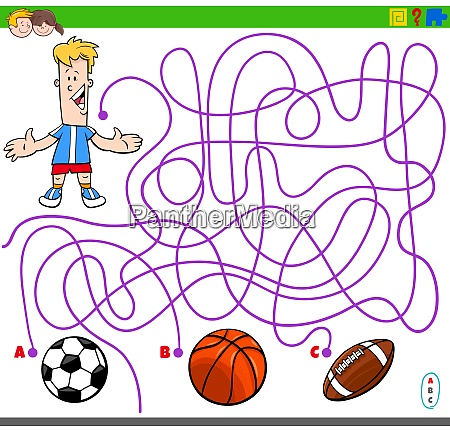 maze game with boy and sport