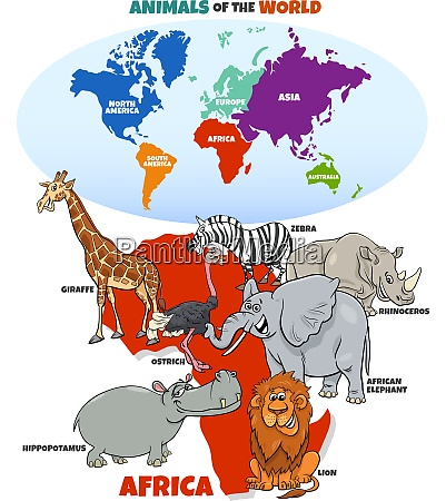 educational illustration of cartoon african animals