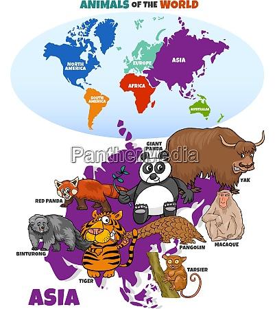 educational illustration of cartoon asian animals