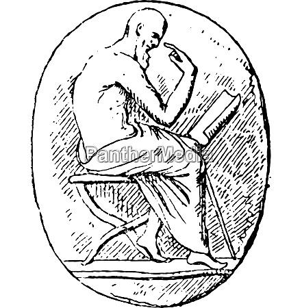 reader vintage engraving