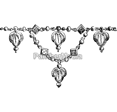 fragment of necklace vintage engraving