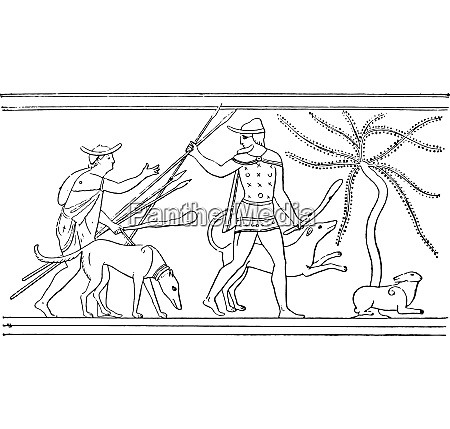 the hunt vintage engraving