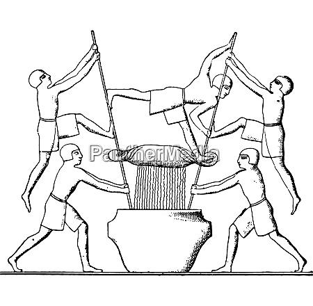 wine press vintage engraving