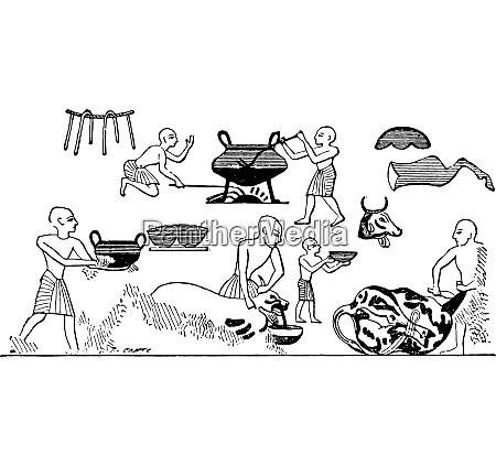egyptian cooks vintage engraving
