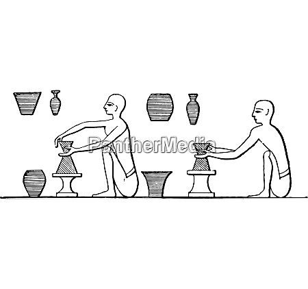 manufacture of pottery vintage engraving