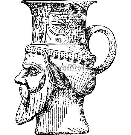 vase shaped head vintage engraving