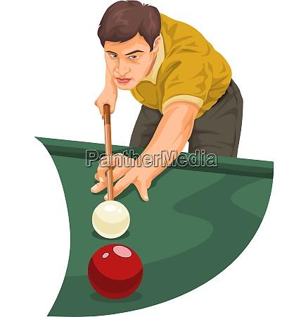 vector of man playing billiards