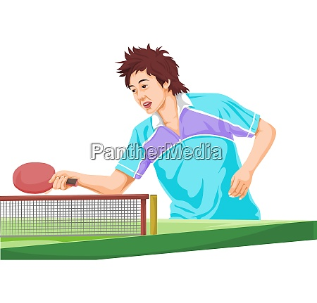vector of teenager playing table tennis