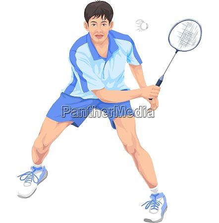 vector of teenager playing badminton