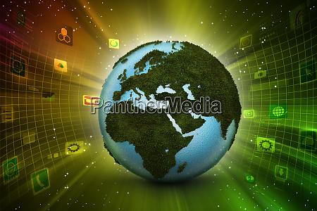 earth globe showing map