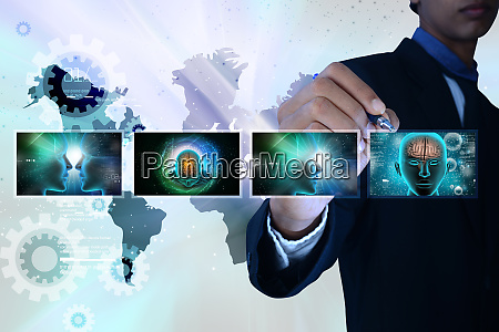 man showing medicine technology concept
