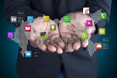 man showing social media concept